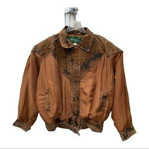 Vintage 80's Giorgio  Brown Silk Leather Jacket